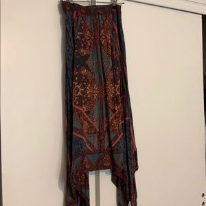 Boho Free People skirt with handkerchief hem